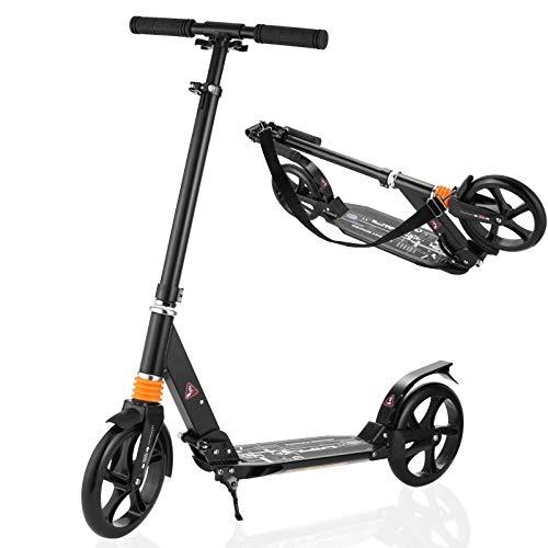 Caroma Scooter für Erwachsene Kick Scooter mit Kick Standbremse, Doppelfederung, Schnellverschluss und...