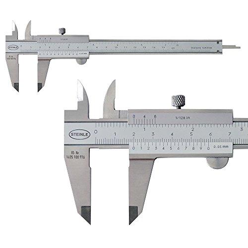 STEINLE 1102 Taschen Messschieber 150 mm mit Feststellschraube, Ablesung: 0,05 mm DIN862 - inkl....