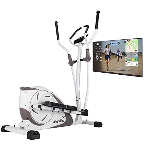 skandika Crosstrainer Fint | Heimtrainer mit Bluetooth, App-Steuerung (Kinomap), Handpulssensoren | 9kg...