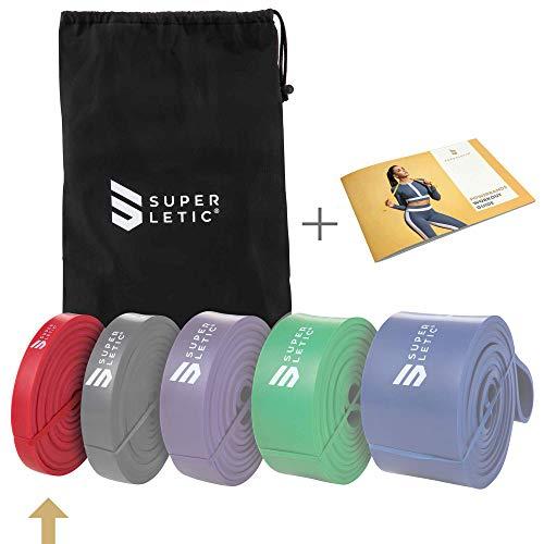 SUPERLETIC Powerbands, Widerstands-Fitness-Bnder, Pullup und Resistance-Training, 5 Strken, rot, schwarz,...