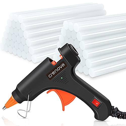 Crenova Heißklebepistole Klebepistole + 60 Heißklebesticks Transparente Klebesticks für DIY Kleine Handwerk...