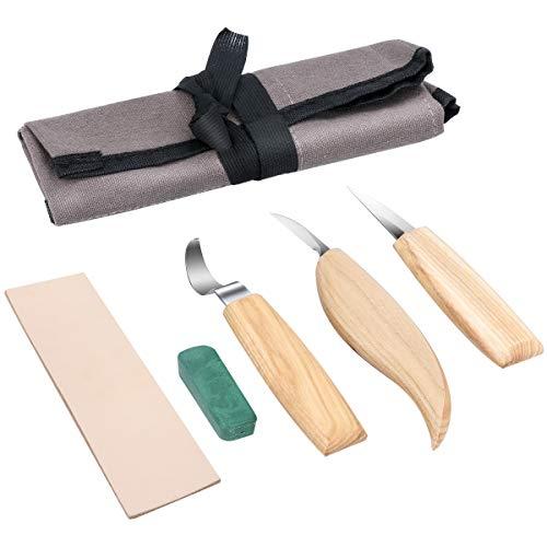 Holz-Schnitzwerkzeug Set, Powcan 5 teiliges Holz-Schnitzmesser Holz Schnitzmesser Set inkl. Tasche,ideales...