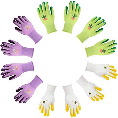 Jardineer 6 Paar Schlamm Gartenhandschuh für Frauen und Männer mit Nylongewebe - Gartenhandschuhe zum...