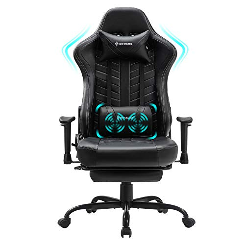 VON RACER Massage Gaming Stuhl mit Fußstütze - Computer Schreibtisch Büro Drehbarer Arbeitsstuhl...