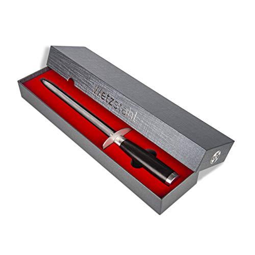CSL Global Trading Profi Wetzstahl Messerschärfer mit Griff aus Pakka Holz in edler Geschenkbox, Wetzstab,...