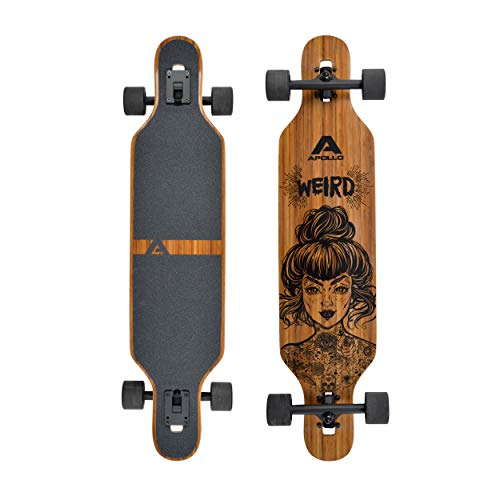 Apollo Longboard, Komplettboard mit Deck aus Bambus & Fiberglas, High-End Board mit ABEC 9 Kugellager, Flex 2...