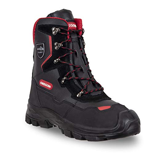 Oregon Herren Yukon Klasse 1Leder-Sicherheitsstiefel für Kettensägenarbeiten, Mehrfarbig Schwarz Red, 44...