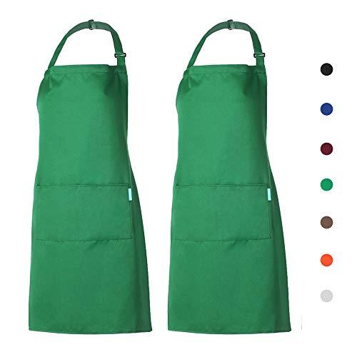 esonmus Schürze Kochschürze Küchenschürze 2er Gärtnerschürze mit 2 Taschen für Frauen Männer Chef...