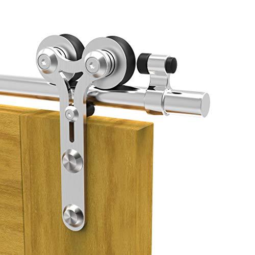TSMST 200cm/6.6ft Edelstahl Laufschiene Schiebetürbeschlag für Einzelne Holztüren, Reibungslos und Leise...