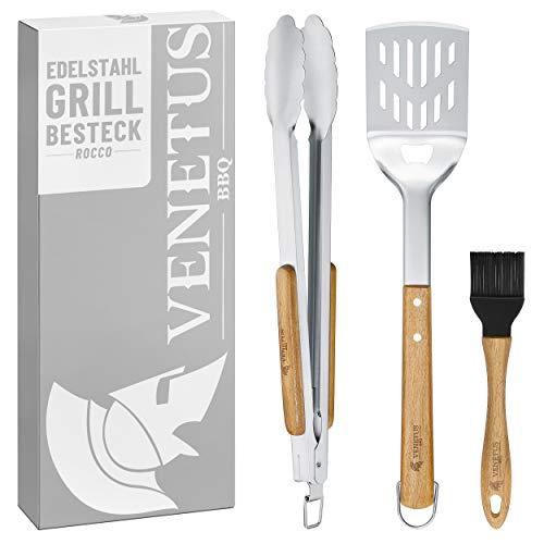 VENETUS-BBQ Grillbesteck Set aus Edelstahl - Grillzange, Wender und Pinsel