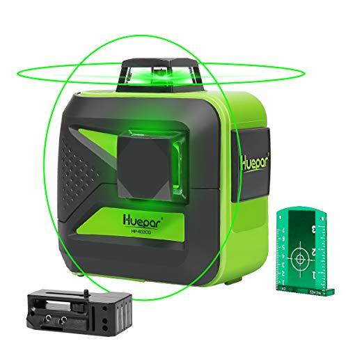 Huepar 602CG 2 x 360 Kreuzlinienlaser Grün, 360 Grad Linienlaser Selbstnivellierenden Laser Level mit...