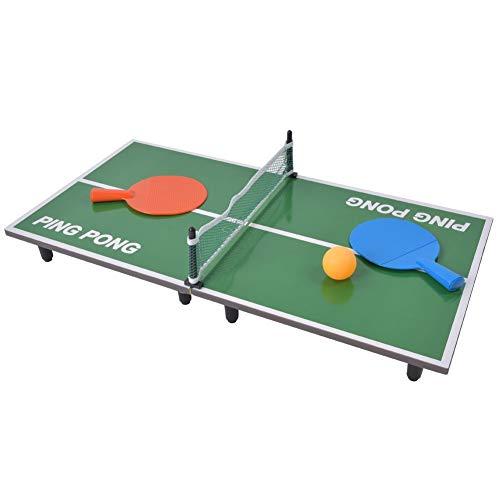 Mavis Laven Tragbares Tischtennis-Set, Indoor-Mini-Tischtennis-Tischspiel Klappbarer Tischtennis-Schreibtisch...