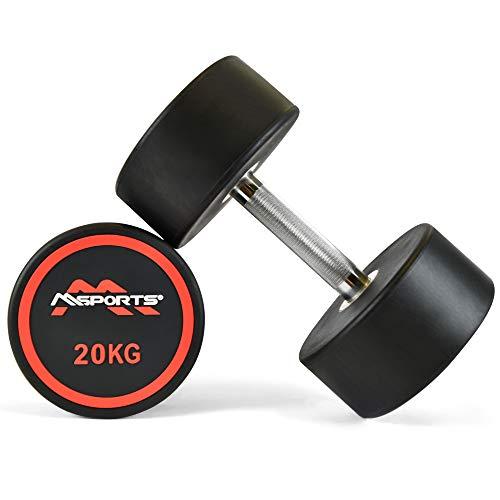 MSPORTS Rundhantel Premium 2er Set   Gummi Kurzhantel Beschichtung 2,5-50 kg   Griff verchromt und gerändelt...