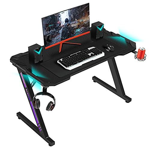 SEDETA Gaming Tisch mit LED, Gaming-Computertisch mit RGB-Beleuchtung, Z-förmiger Gaming Schreibtisch...