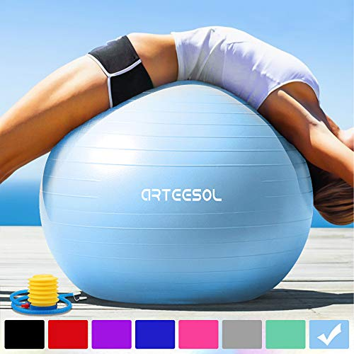 arteesol Gymnastikball 45cm / 55cm / 65cm / 75 cm inkl. Pumpe Anti-Burst Sitzball für Yoga Pilates Fitness...