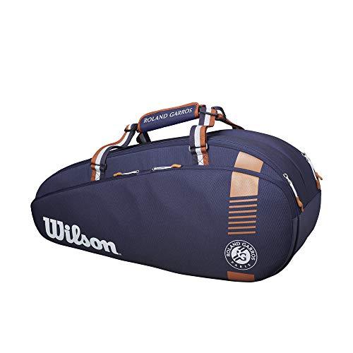 Wilson Schlägertasche Roland Garros Team 6, Bis zu 6 Schläger, Marineblau/Braun, WR8006701001