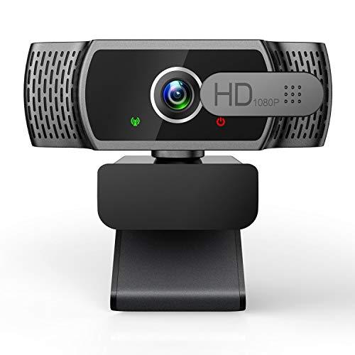 EYONMÉ Webcam mit Mikrofon,1080P Kamera mit Webcam Abdeckung,USB 2.0 Plug&Play, für Desktop und Laptop Video...