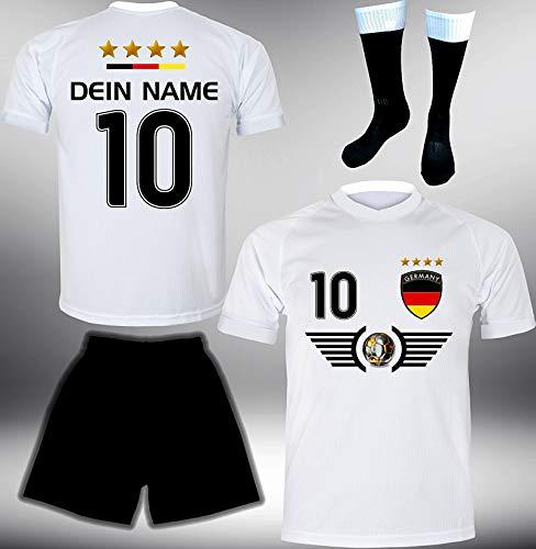 DE-Fanshop Deutschland Trikot Set 2018 mit Hose & Stutzen GRATIS Wunschname + Nummer im EM WM Weiss Typ...