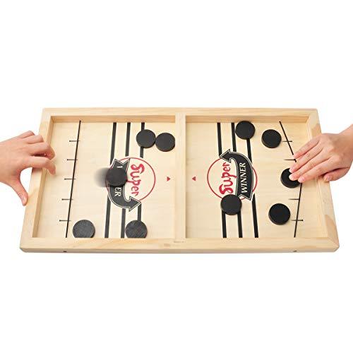 MOMSIV Schnelles Fast Sling Puck-Spiel, Lustiges hölzernes Sling Puck-Gewinner-Brettspiel Brettspiel Tisch...