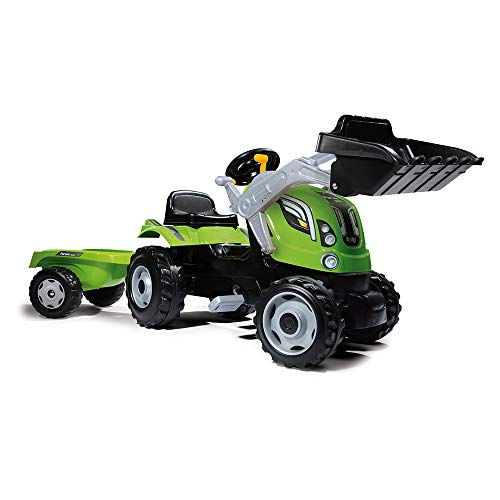 Smoby 7600710109 - Traktor Farmer XL-Loader - Trettraktor mit Anhänger, Trailer verfügt über Tragkraft von...