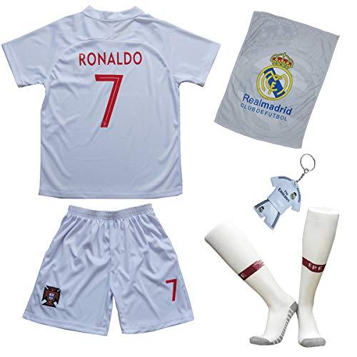 Portugal Ronaldo Trikot Set #7 Auswärts 2018/19 Kinder Fussball Trikot Mit Shorts und Socken Kinder (9-10...