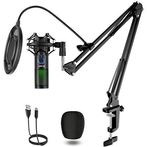 Kungber USB Mikrofon PC, 5 RGB Licht Modi Gaming Microphone, Kondensatormikrofon Kit für PS4, Computer und...