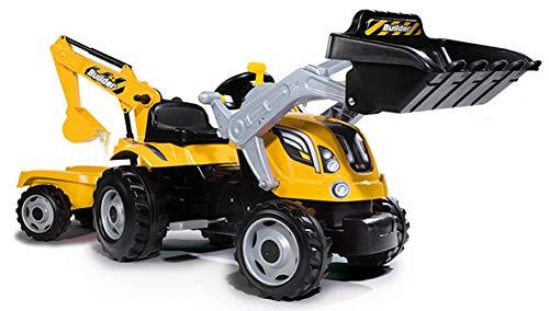 Smoby 7600710301 - Traktor Builder Max - Trettraktor mit Anhänger, Trailer verfügt über Tragkraft von bis...