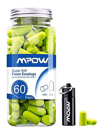 Mpow 055A Ohrstöpsel Gehörschutz 60 Paar, 34dB SNR-Gehörschutzstöpsel mit Tragbarer Aluminium-Box, Weichen...
