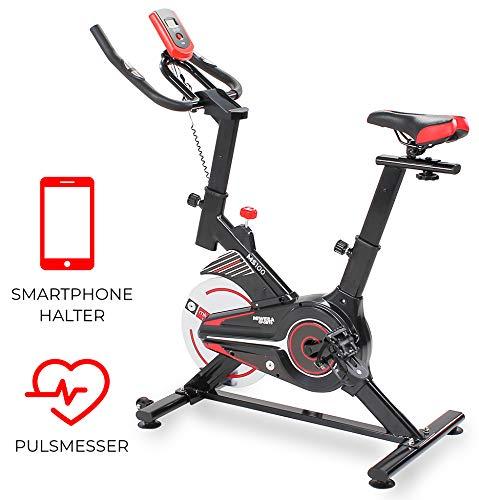 Miweba Sports Indoor Cycling MS100 Fitnessbike - 10 Kg Schwungmasse - Stufenfreie Widerstandsverstellung -...