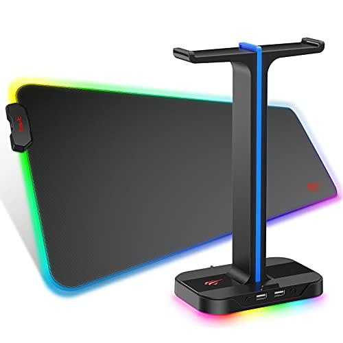 havit RGB Gaming Mauspad & Kopfhörer ständer Combo Set, weiche rutschfeste Gummimatte Mausmatte, Dual...