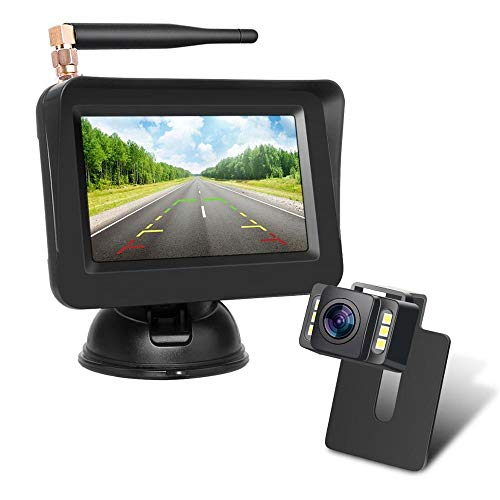 Wireless Backup Kamera-Kit,Rückfahrkamera drahtlos, IP68 Wasserdicht LED Super Nummernschild Nachtsicht...