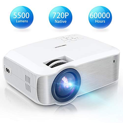 TOPVISION Mini Beamer, Native 720P Heimkino Beamer Unterstützt 1080P Full HD, 5500 Lumen Video Beamer mit...