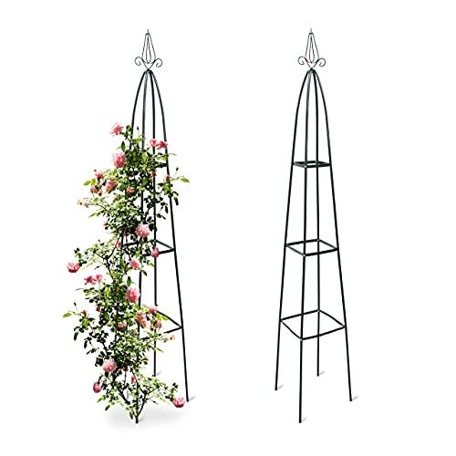 Relaxdays 2X Rankturm, Garten Obelisk, freistehende Rankhilfe für Kletterpflanzen, Ranksäule, Metall, HBT...