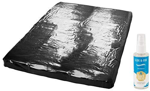 Wetgames Lack-Spannbettlaken Gummilaken Erotik & Sex Lacken Unterlage schwarz, 160 x 200 cm für Massage...