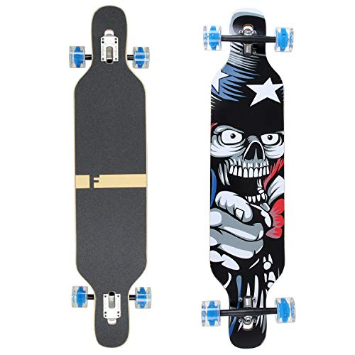 FunTomia Longboard Skateboard Drop Through Cruiser Komplettboard mit Mach1 High Speed Kugellager T-Tool mit...