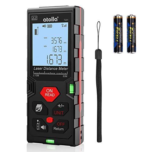 atolla Laser Entfernungsmesser messgerät bis zu 60m/±2mm Messung von Distanz Fläche Volumen mit M/In/Ft...