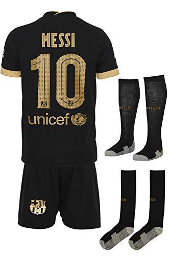 Barca Messi 2020/2021 Auswarts Trikot und Shorts mit Socken Kinder und Jugend Größe (140)