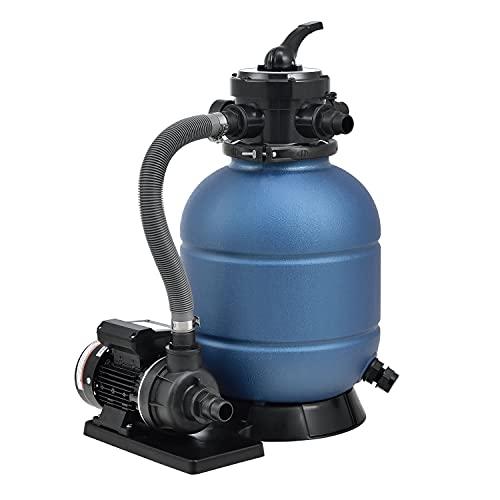 Juskys Sandfilteranlage PSFA20A 10 m³/h – Pool Filteranlage mit 4-Wege Ventil, Druckanzeige & 23 kg...