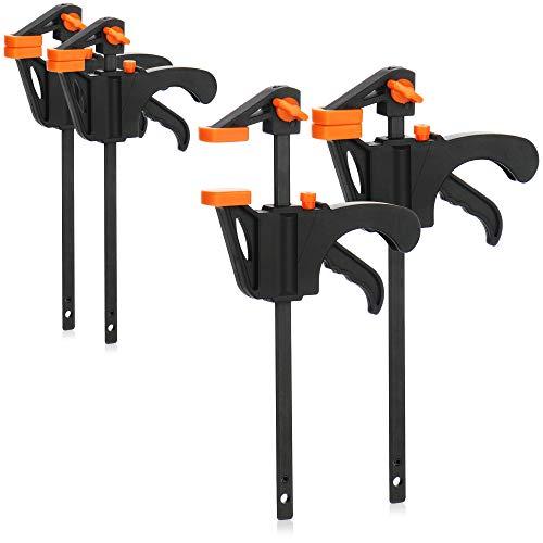 com-four® 4X Einhandzwinge - Zwingen - Schnellspannzwingen Set für Handwerker - Schraubzwinge - Handzwinge...