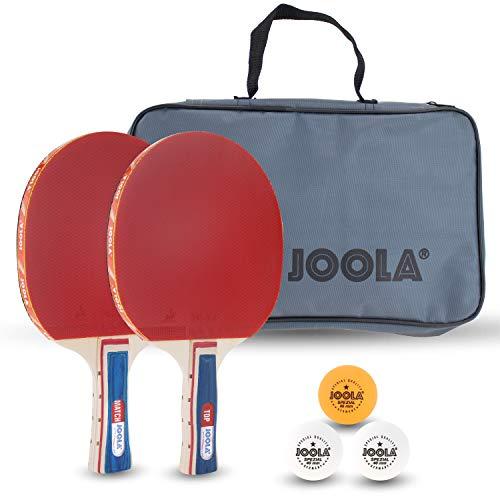 JOOLA Tischtennis-Set Duo Bestehend aus 2 Tischtennisschläger + 3 Tischtennisbälle + 1 Aufbewahrungstasche,...