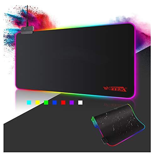 Gaming Mousepad RGB Mauspad 800x300 XXL Gaming Mauspad groß mit 14 Beleuchtungs Modi Wasserdicht Anti Rutsch...