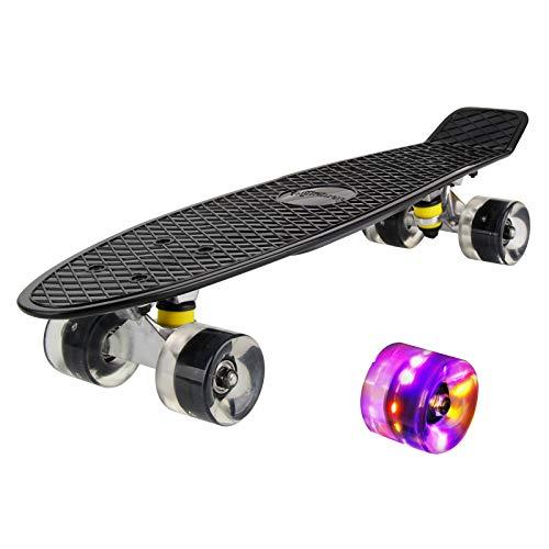 hausmelo Skateboard Mini Cruiser Retro Board Komplettboard für Anfänger Kinder Jugendliche und Erwachsene,...