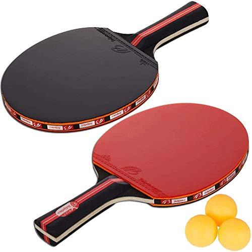 Amaza Professionel Tischtennis-Set - 2 Tischtennisschläger + 3 Tischtennis Bälle für Amateure, Anfänger,...