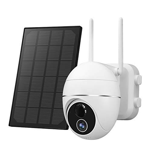 Überwachungskamera Aussen Akku 15000mAh 355°/140°Schwenkbar mit Solarpanel,1080p FHD WLAN IP Kamera,Pan...
