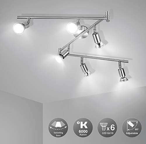 Wowatt LED 6 flammig Deckenleuchte Deckenstrahler LED Spotbalken Deckenlampe Küche Schwenkbar Wohnzimmer Flur...