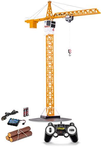 Carson 500907301 1:20 Tower Crane 2.4G 100% RTR, Ferngesteuerter Kran, Baufahrzeug mit Funktionen, inkl....