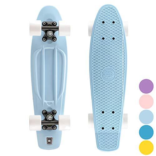 Xootz Cruiser Skateboard, für Kinder geeignet, im Retro-Design, aus Plastik, gebrauchsfertig Blau blau...
