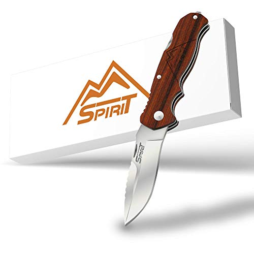 OUTDOOR SPIRIT® Zweihand Klappmesser 2 in 1 - Taschenmesser mit scharfer Edelstahlklinge 440C -...