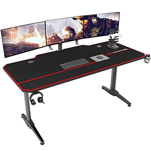 DlandHome Gaming Tisch 140cm Ergonomischer Gaming Schreibtisch Groß PC Tisch Gaming Desk mit Große...