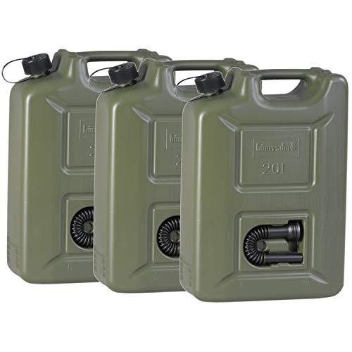 hünersdorff 802011 3er Set Kraftstoff-Kanister PROFI 20l für Benzin, Diesel und andere Gefahrgüter, Made in...